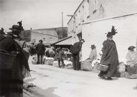 Cockle Sellers outside Carmarthen Market, c. 1900