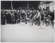 A motor cycle race in Carmarthen Park, c. 1900-10
