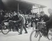 On your marks: the start of a motor cycle race,...