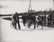 Start of a cycle race, Carmarthen Park, c. 1900