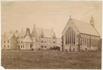 Christ College and chapel, Brecon, c. 1865
