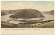 Panoramic postcard view of the Elan Valley, c....