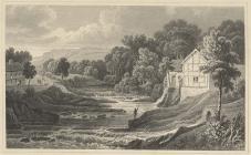 Golygfa wedi ei engrafu o Afon Rhiw, Aberriw,...