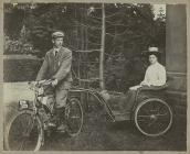 Early motorcycle at Talybont, 1905