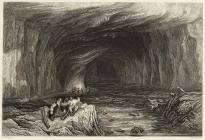 Engraving of a cave at Cwm Porth, c. 1830