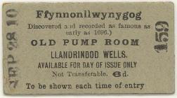 Pump Room ticket, Llandrindod Wells, 1910