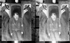 Double photograph of a painting of Hitler, c....