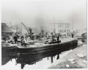 Steam driven canal barge outside Queens Hotel,...