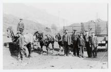 Horses shunting coal wagons at Tymawr colliery,...