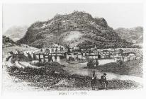 Engraving of Pontypridd town, c. 1886