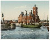Coloured postcard of the entrance to Cardiff...