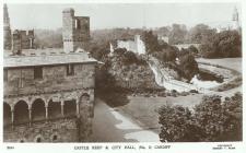 Gorthwr y Castell a Neuadd y Ddinas, Caerdydd,...
