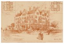 Architectural drawing of Aberdare Hall, Cardiff...