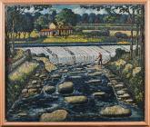 'The Weir, Llandaff' gan Charles Byrd, 1950au