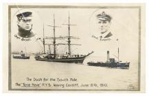Postcard of the 'Terra Nova' leaving...
