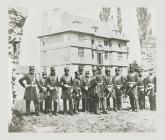 Officers of the Monmouthshire Regiment standing...
