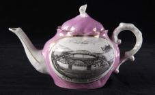 Souvenir teapot, showing Pontypridd Bridges, 1800s