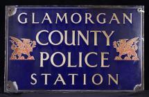 Glamorgan County Police Station sign, c. 1900