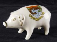 Souvenir china pig from Pontypridd, 1800s