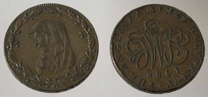 Anglesey copper half-penny from Parys Mountain,...
