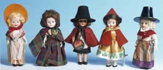 Five female dolls, made by Rogark