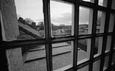 A view of outside from one of the cells at...