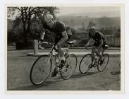 Cyclists David and Christopher Hughes, late 1950s