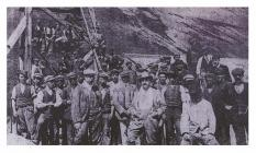 Copper workers at the Drws-y-coed works, c.1900