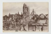 Postcard of the ruins around the belfry at Mons...