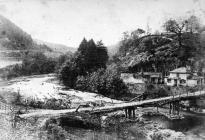 Llangollen. View of the First Chain Bridge and...