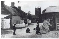 Children playing marbles in Llangynwyd, Glamorgan