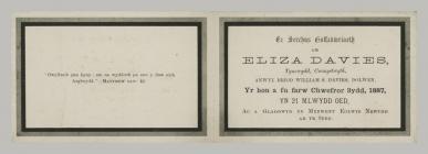Memorial Card details for Eliza Davies