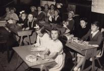 Miss Evans' sewing class, Cribyn School 1957