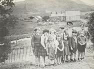 Pupils on the last day of Ysgol Capel Celyn...