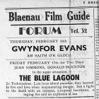 Hysbyseb i Sinema'r Forum, Blaenau Ffestiniog yn y Rhedegydd 16/2/1950