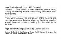 Mary Davies Parnell, Trehafod yn sôn am ei gwyliau [Saesneg]
