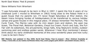 Steve Williams describing memories of Rhyl