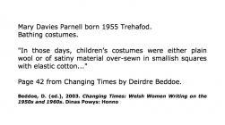 Mary Davies Parnell, Trehafod yn disgrifio gwisgoedd nofio [Saesneg]