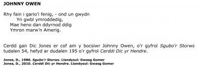 Johnny Owen - poem by Dic Jones [Welsh]