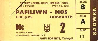 Tocyn Eisteddfod Genedlaethol Bro Dwyfor 1975