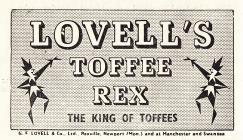 Hysbyseb Lovells Toffee [Saesneg]