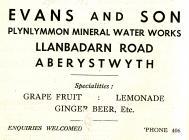 Hysbyseb Evans & Son mineral water works [Saesneg]