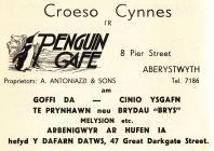 Hysbyseb Cafe Penguin, Aberystwyth