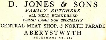 Hysbyseb D. Jones & sons butchers [Saesneg]