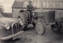 Farmer on his tractor, Clunyrychen Farm, Horeb,...