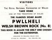 Hysbyseb Pwllheli Brown Rock [Saesneg]