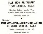 Hysbyseb Blue Lion Restaurant Bala [Saesneg]