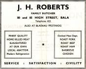 Hysbyseb JH Roberts y Cigydd [Saesneg]