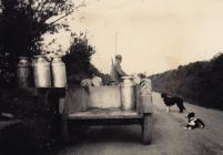 Farmer taking milk to the stand, Betws Farm,...