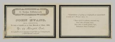 Memorial Card details for John Evans